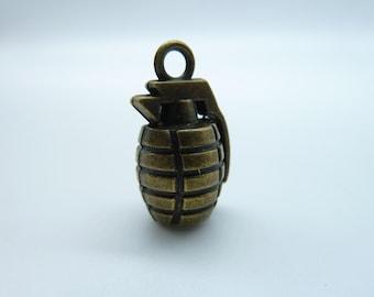 2 Grenade Charms Bronze Tone 3D Bomb Charm BC801