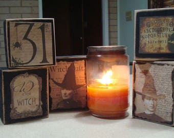 Hand made witch Halloween wood blocks