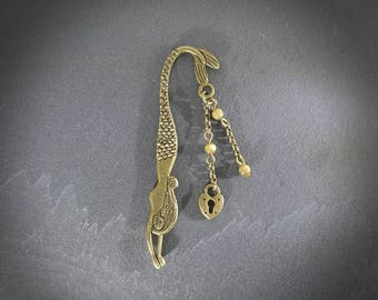Mini bookmark Mermaid beads Brown * item for book * magical * loblada creation * gift for a big reader * antique bronze