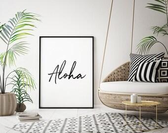 ALOHA Printable Art – Hawaii Print, Aloha Wall Art, Hawaiian Decor, Coastal Art, Minimalist Typography *Instant Download, Buy 2 Get 1 Free*
