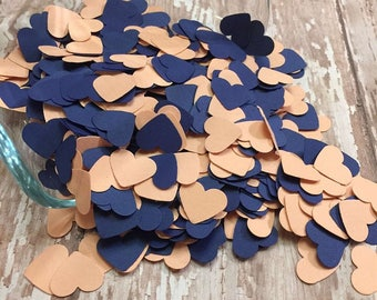 Navy and Peach Heart confetti, wedding confetti, bridal shower decor, table sprinkle decor, heart confetti, navy heart die cut, paper hearts