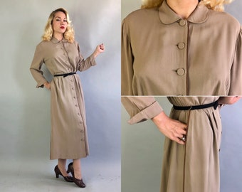Vintage 1950s Dress | 50s Khaki Beige Gabardine Wool Shirtwaist Button Up Day Dress with Rust Piping and Pockets Volup | Extra Large XL
