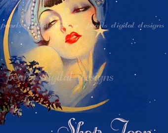 Etsy Shop Icon, Wish Upon A Star, instant download, blank file, moon, stars, vintage flapper lady, gypsy headdress, pearls, blue, night sky,