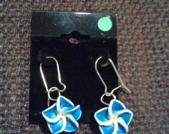 Blue Summer Hibiscus Earrings 1