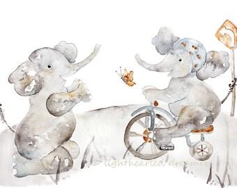 Elephant Nursery Print, bicycle, tricycle, Watercolor Print, Kids Wall Art, Toddler, Baby Boy Nursery Art