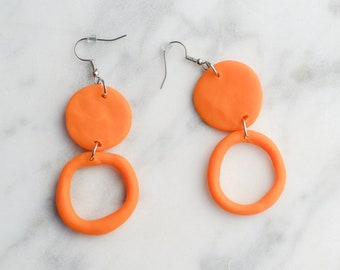 Two-tier Orange Circle Earrings