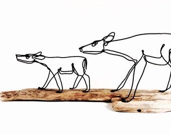 Doe and Fawn Wire Sculpture, Deer Sculpture, Wildlife Art, Minimal Sculpture, Wire Folk Art, 472037270