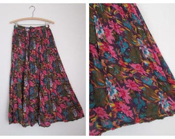 Boho Hippie Cotton Gauze Floral Print Drawstring Festival Skirt Made in India Medium