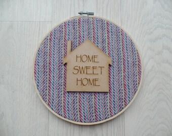"Harris tweed ""home sweet home"" wall hanging"