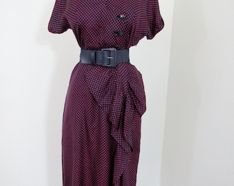 Sophisticated 1950s Red & Navy Polkadot Rayon Dress with Elaborate Hip Detail