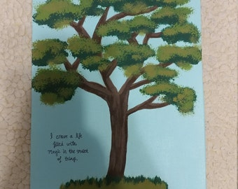 Original Tree Quote Acrylic Painting on Canvas Board