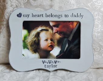 My heart belongs to daddy frame Gift dad Fathers day gift dad papa Personalized picture frame daughter father bride wedding gift photo frame