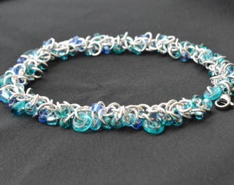 Shaggy Beaded Chainmaille Bracelet and Earrings set