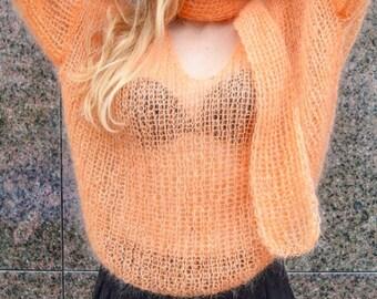 Orange sweater, mohair sweater, v-neck sweater, Open back sweater, orange pullover, handknit sweater, loose sweater, light sweater, knitwear