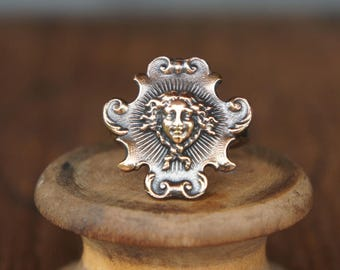 French Stamped Brass Antique Style Sun King Louis XIV Ring