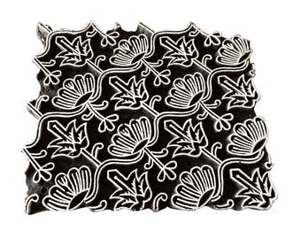 Square Stamp With Flowers Block Print Stamp Textile Stamp Clay Stamp Pottery Stamp