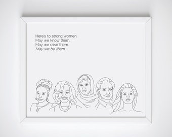 Feminist Print - Hillary Clinton, Beyonce, Michelle Obama, Malala, Chimamanda Adichie, Printable, Feminist Quote, Empowering