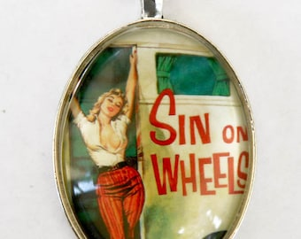 Sin on Wheels NECKLACE hipster punk rockabilly pinup retro large 40x30mm glass domed pendant