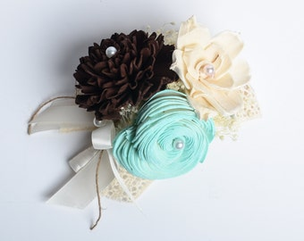 Sola Flower Corsage, Ivory, Mint, Brown Mother's Corsage, Wedding Corsage