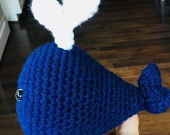 Custom Crochet WHALE, Amigurumi Whale TOY, Stuffed Baby Whale, Knit Whale, Nursery Decor, Baby Whale, Baby Rattle