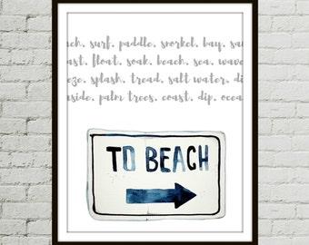Beach Art Prints, Watercolor Beach, Wall Art Décor, Wall Décor Ideas, Wall Decoration, Beach Décor, Ocean Décor, Beach Watercolor Printable