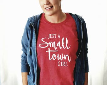Just a Small Town Girl Graphic Statement T-shirt in Red, Gray, and Blue *Free Shipping*