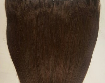 "18"" Weft Hair, 100grs,Weft Weaving (Without Clips),100% Human Hair Extensions #2 Darkest Brown"