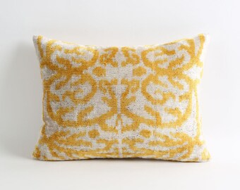 Yellow ikat velvet pillow cover, handwoven ikat pillow, yellow white pillow, yellow pillow cover, decorative lumbar throw ikat pillow