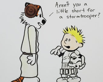 ORIGINAL ART - Calvin and Hobbes Star Wars Leia Luke Crossover Copic Marker Traditional Artwork