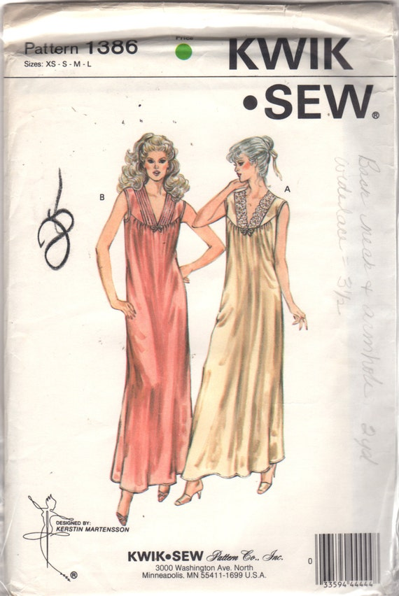 Kwik Sew 1386 1980s Misses Nightgown Pattern Lace Quilted V