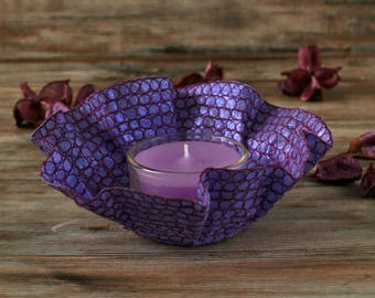 Tea light holder, purple candle, embroidery art, candle holder, purple tea candle, textile art gift, scented candle handmade, unusual gift