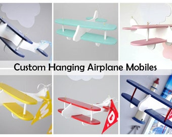 Aeroplane mobile etsy custom hanging airplane personalized name bunting airplane baby mobile kids bedroom decoration negle Gallery