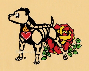 Day of the Dead PIT BULL Dog Dia de los Muertos Art Print 5 x 7, 8 x 10 or 11 x 14 - Choose your own words - Donation to Austin Pets Alive