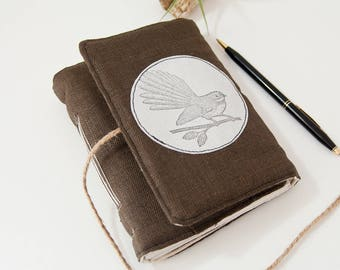 Fabric Journal with Bird Art – Unlined Journal Diary with 160 Blank Pages - New Zealand Bird Fantail