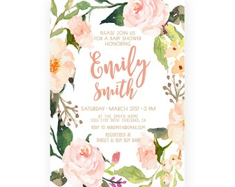Girl Baby Shower Invitation, Boho, Watercolor Flower, Printable Invite  (530)