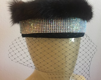 Vintage fur pillbox hat