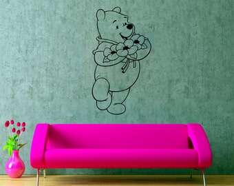 Pooh Bear Wall Decal Winnie Pooh Sticker Nursery Wall Decor Cartoons Art Decorations (16weph)
