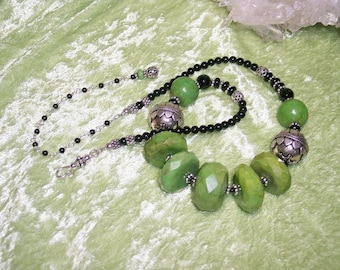 LIME NOIR - Necklace in Lime Green Turquoise, Black Onyx, Gaspeite, and Sterling Silver