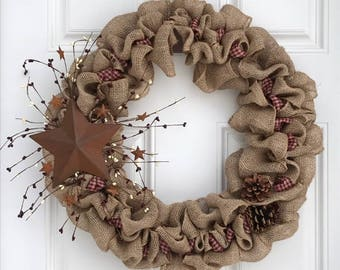 Country Primitive Rustic Star Wreath