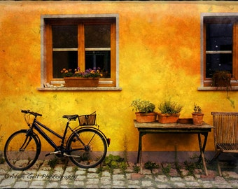Tuscan,Romantic, European streets,Italy,Wall Art,wall Decor,bicycle photo,country decor