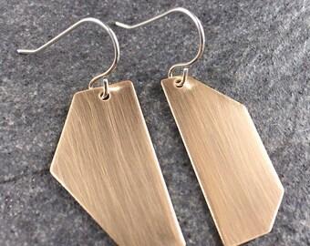 Geometric Asymmetrical Earrings - Minimalist Bronze Earrings - Modern Dangles - Contemporary Geometric Earrings  0016