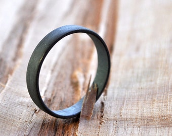 Women's Flat Oxidized Sterling Silver Wedding Ring. 3.7mm wide. Wedding Band. Handmade. Grey. Gray. Black. Custom Size.