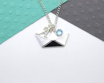 Personalized Boat Necklace, Custom Origami Boat Necklace, Personalised Swarovski Birthstone & Initial Name Gift