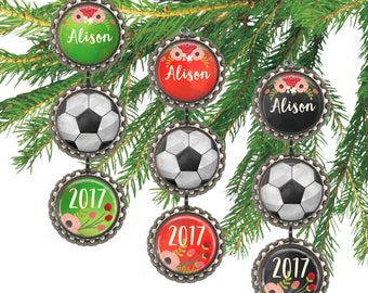 Girls soccer ball ornament, personalized Christmas ornament, soccer ball, girls sports, custom name and date.