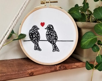 "Love Birds on a Wire 5"" Embroidery Hoop"