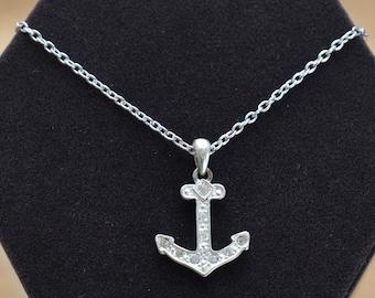 Rhinestone Anchor Pendant Necklace, Silver tone, Vintage (TB401)