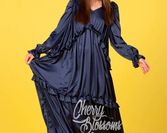 Blue Maxi dress/ Summer Maxi Dress/ Boho dress/ Maxi Boho dress/ Maxi dress with sleeves/ Long sleeves dress/ Party dress/055.169