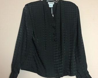 Black satin jacquard neck blouse 2