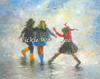 Three Sisters Art Print, three girls paintings, girls room wall art, girlfriends best friends, bridesmaids, three daughters, Vickie Wade art