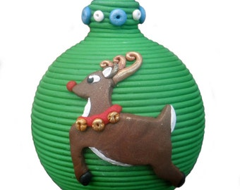 Red-nosed Reindeer - Rudolph - polymer clay Christmas ornament